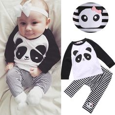 Fashion Boy Girl Kids Cotton Panda Tops+Striped Leggings Outfits Baby Clothes #Unbranded #Everyday
