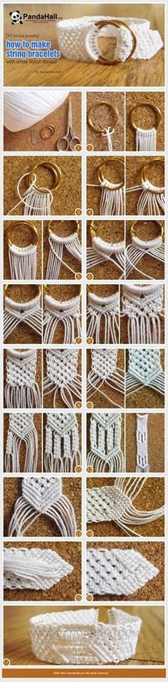 Macrame sort bracelet made just out of combination of different braids.  The ring initially used as the support to hold on the braids can be retained as a decorator.