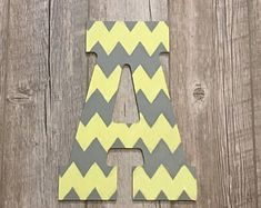 Painted Letters by HomeofLetters Grey Yellow Nursery, Gray Yellow, Chevron Letter, Chevron Birthday, Painted Letters, Gender Neutral, Superhero Logos, Nursery Decor, Sunshine