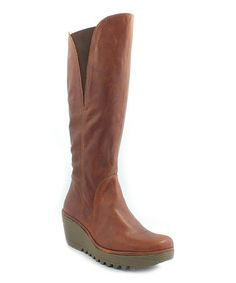 Look at this #zulilyfind! Cognac Leather Touch Yind Wedge Boot by FLY London #zulilyfinds