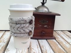 Coffee Cup Sleeve, Coffee Mug Cozy - Cable Knit Coffee Cup Cozy in Cream Tweed and Dark Brown Coconut Shell Buttons by beatknits on Etsy