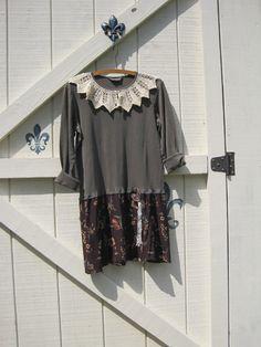 Gypsy / Hippie / Cowgirl / Prairie / Bohemian dress M, rustic hippie gypsy boho funky romantic, tunic gypsy dress, Olive fall floral, Upcycled