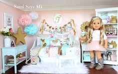 Sami Says AG– American Girl Tenney Grant's Doll House Room - American Girl Dolls American Doll House, Ropa American Girl, American Girl Doll Room, American Girl Crafts, American Girl Clothes, Girl Doll Clothes, Barbie Clothes, Barbie Barbie, American Doll Stuff