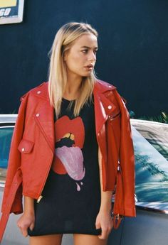 street fashion look with red leather jacket