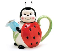 #burtonandburton Handwash only/FDA approved.brLovely Ladybugs hand-painted raised ceramic teapots.br/42 oz. 8 3/4H X 2Opening.  Set of 2.