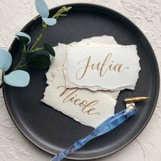 Wedding Calligraphy Place Cards Escort Cards Handmade Paper