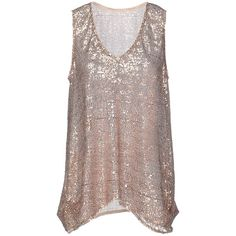 Manila Grace Top (150 CAD) ❤ liked on Polyvore featuring tops, bronze, sequin top, sequin v neck top, manila grace, brown tops and brown sleeveless top