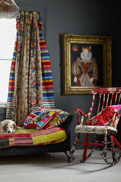 Patchwork ideas @ Living etc and Country Living Living Room Decor Eclectic, Colourful Living Room, Living Room Modern, Living Room Designs, Living Rooms, Living Etc, Colorful Curtains, Striped Curtains, Living Room Pictures