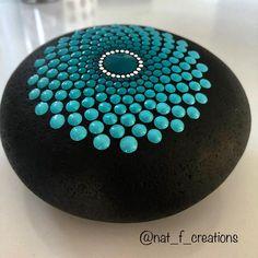 y favorite colour for a very big stone #dotart #dotwork #dotpaintingonstone #stonespainting #mandala #mandalarock #artistoninstagram