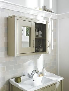 This double mirror cabinet in Pistachio is a multi-purpose hero in the bathroom.  Not only does it provide additional storage and somewhere to check that you're looking fresh - it also adds reflection to make your bathroom seem bigger.  Couple this with some greenery, for a true touch of the outdoors in your bathroom.