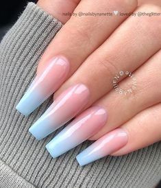 50 Pretty French Pink Ombre And Glitter On Long Acrylic Coffin ombre coffin nails - Coffin Nails Blue Ombre Nails, Coffin Nails Ombre, Mauve Nails, Light Blue Nails, Blue Acrylic Nails, Acrylic Nails Coffin Short, Summer Acrylic Nails, Acrylic Nail Designs, Nail Art Designs