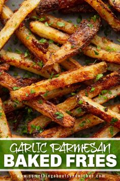 These Garlic Parmesan Fries are fluffy on the inside and ultra crispy on the outside. They're oven baked and BURSTING with flavour! Baked Fries Healthy, Oven Baked Fries, Fries In The Oven, Side Dishes For Bbq, Side Dish Recipes, Garlic Parmesan Potatoes, Baked Sandwiches, Sweet Corn Soup, Yellow Squash Recipes