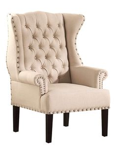 Knuckey French Country Beige Linen Nail Head Wing Back Armchair