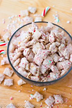 """Peppermint Crunch Puppy Chow  Except I'd swap milk chocolate for white chocolate because white chocolate is the devil, and then I could call them Christmas Muddy Buddies, because who the hell would eat something called """"puppy chow?"""""""