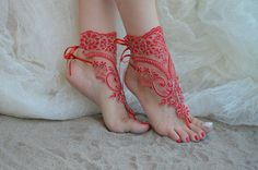 Red barefoot sandals Burgundy barefoot silver frame  by UnionTouch