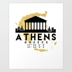 ATHENS GREECE SILHOUETTE SKYLINE MAP ART - The beautiful silhouette skyline of Athens and the great map of Greece in gold, with the exact coordinates of Athens make up this amazing art piece. A great gift for anybody that has love for this city. Contact me: digital@deificusart.com graphic-design digital typography illustration vector athens greece downtown silhouette skyline map coordinates souvenir gold deificus-art