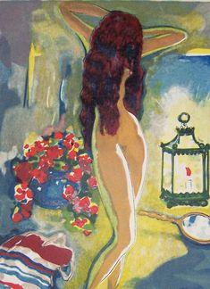 L'adolescente au Miroir - Kees van Dongen Dutch 1877-1968 Wood engraving , watercolour Illustration for Le Livre des mille nuits et une nuit van J.C. Madrus,