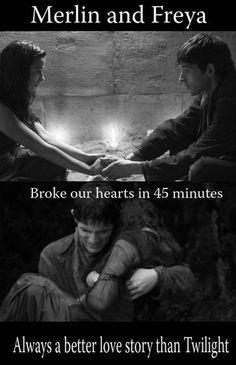 Better love story than Twilight. Merlin and Freya. BBC Merlin << BY FAR a better love story Merlin And Arthur, Merlin Merlin, Colin Morgan, Narnia, Merlin Funny, Merlin Fandom, Bradley James, Best Love Stories, Merlin