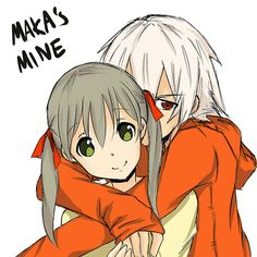 one of my favorite couples- Maka and Soul from Soul eater. OMG his hair... this just looks... AAAAAAAAAH *Fangirls everywhere and breaks stuff*