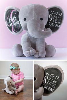 Personalized monogram elephant baby gift birth announcement personalized monogram elephant baby gift birth announcement elephant big ear stuffed animal new baby gift baby shower gift elephant baby birth and negle Image collections