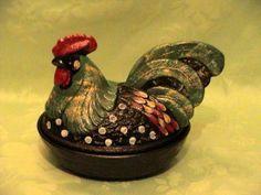 Fenton ~ Hen on Nest ~ Folk Art Black Decorated ~ artist signed B ...