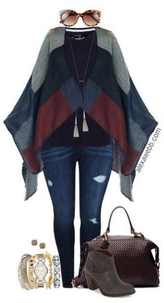 Plus Size Color Blocked Poncho Outfit - Plus Size Fashion for Women - Alexa Webb #alexawebb