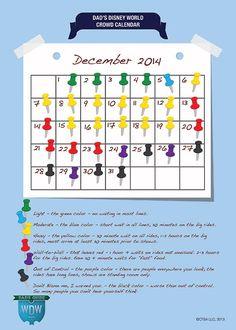 December Disney World Crowd Calendar. So glad I found this Dad guy, great advise