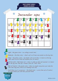 Dad's December 2014 Disney World Crowds Calendar