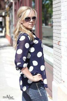 So Maranda!! Cute Polka dot blouse #navyblue  #modestclothing