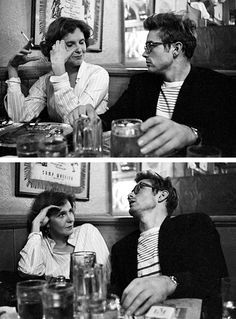 "jamesdeaner: "" James Dean and Geraldine Page catch up in a bar in NYC, photographed by Dennis Stock. """
