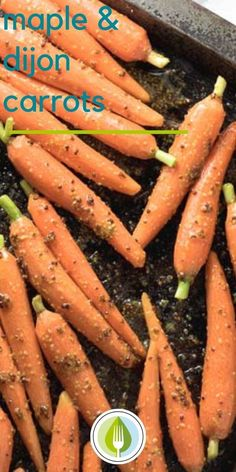 Maple and Dijon Carrots - oven-roasted.  A simple side dish for your holiday table. Vegan recipe.