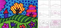 Romero Britto - The Pop Art movement started in the 1950s and often included very flat and graphic imagery. If you show children how to draw a simple landsc...