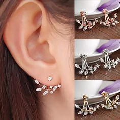 Pretty and petite: Add a dose of whimsical with these delicate marquise leaf design ear jackets. Perfectly paired with a casual sweater, or dressed up for a night out.Features:Material: AlloyHigh-polish finishPost backsAvailable in multiple colors - Plated Gold, Silver, Rose GoldLength - 3cmHeight - 2.5cm