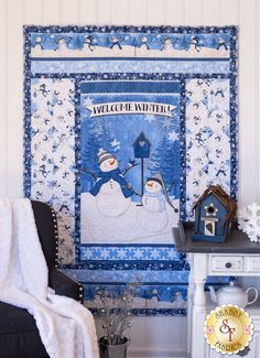 Welcome Winter Throw Quilt Kit Fabric For Sale Online, Welcome Winter, Snowman Quilt, Cute Snowman, Snowmen, Shabby Fabrics, Winter Quilts, Quilt Kits, Winter Scenes