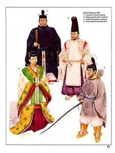 Early Samurai: Heian fashions 1083 A D. Japanese History, Asian History, Japanese Culture, Heian Period, Heian Era, Japanese Kimono, Japanese Art, Kamakura Period, Japanese Warrior