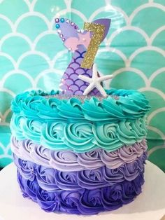 Beth B's Birthday / - Photo Gallery at Catch My Party 4th Birthday Parties, 7th Birthday, Birthday Ideas, Cake Birthday, Mermaid Birthday Cakes, Mermaid Birthday Party Ideas, Little Mermaid Parties, Little Mermaid Cakes, First Birthdays