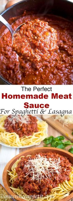 This Homemade Meat Sauce is thick hearty and super meaty! It uses a combination of lean ground beef and Italian sausage for the most amazing flavour. Serve it over spaghetti topped with parmesan or use it in a lasagna for an extra special dinner the whol Spaghetti Recipes, Pasta Recipes, Dinner Recipes, Cooking Recipes, Recipe Pasta, Tomato Recipe, Cooking Pasta, Pasta Food, Cooking Bacon