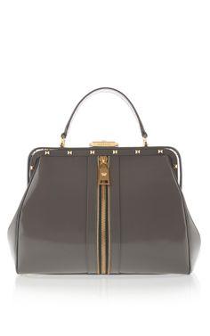 Gray Versace Zippered Doctor Bag