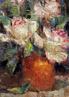 Roses in Terracotta., painting by artist Julie Ford Oliver