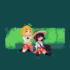 "hrpixelart: ""Big Hat and Kase-san "" Pixel Characters, Pixel Art Games, Art World, Art Tutorials, All Art, Art Reference, Art Boards, Concept Art, Anime Art"