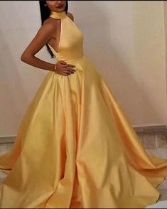 Elegant Halter A Line Satin Sunny Yellow Evening Dress Long Women Prom Party Gown 2019 Yellow Evening Dresses, Evening Dress Long, Yellow Dress, Yellow Maxi, Grad Dresses, Homecoming Dresses, Dress Prom, Halter Top Prom Dresses, Maxi Dresses