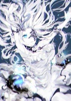 Anime picture 1447x2046 with kantai collection abyssal jellyfish hime wucun (newli) long hair tall image blue eyes very long hair blue shinkaisei-kan girl dress white dress