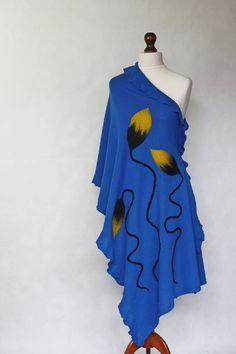 Cobalt shawl cobalt scarf knit shawl shawl wrap by KnitwearFactory, $75.00