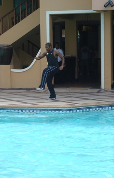 Exercising at beaches negril pool.