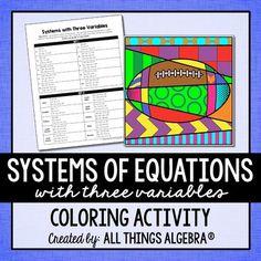 Literal Equations Coloring Activity Algebra I Literal
