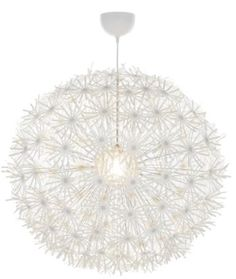 Dandilion Chandelier w/ lights from Ikea. So popular and beautiful.