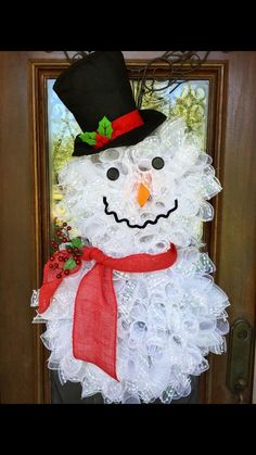 deco mesh snowman wreath front door christmas wreaths ideas