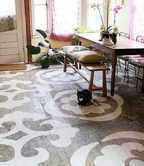 Idea ... paint a 'rug' on concrete floor under clawfoot tub in master bath.