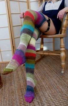 Knitted socks - Victorian stockings - fabulous stripes - EU 38 to 42 - 26 cm foot - lace weight - NORO yarn. Listing now sold Pastel Punk, Frock Fashion, Knitting Socks, Knit Socks, Textiles, Knitting Accessories, Cool Socks, Tumblr, Thigh Highs