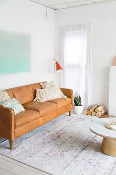 A living room makeover we styled for Loloi Rugs!